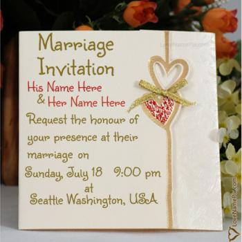 Wedding Invitation Card With Name Maker