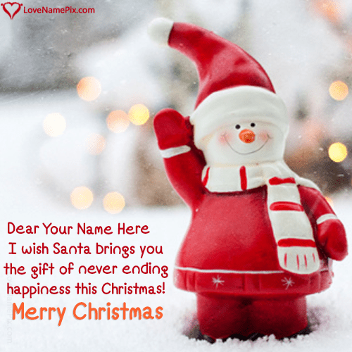 Cute Red Santa Happy Christmas With Name Editing