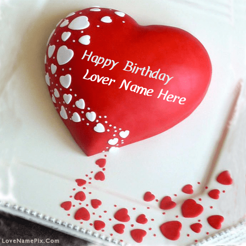 Red Heart Lovers Birthday Cake With Name