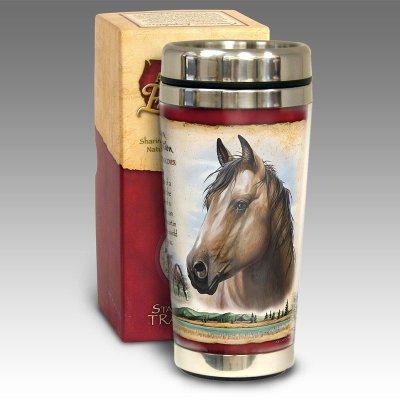 American Mustang Steel Travel Mug 16oz Horse Theme