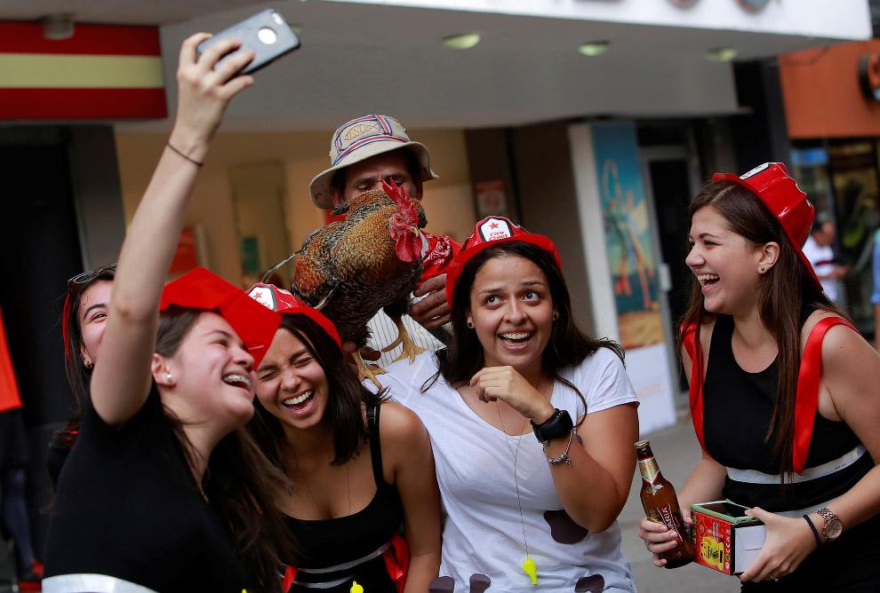 Жители фотографируются с петухом, как с местной знаменитостью