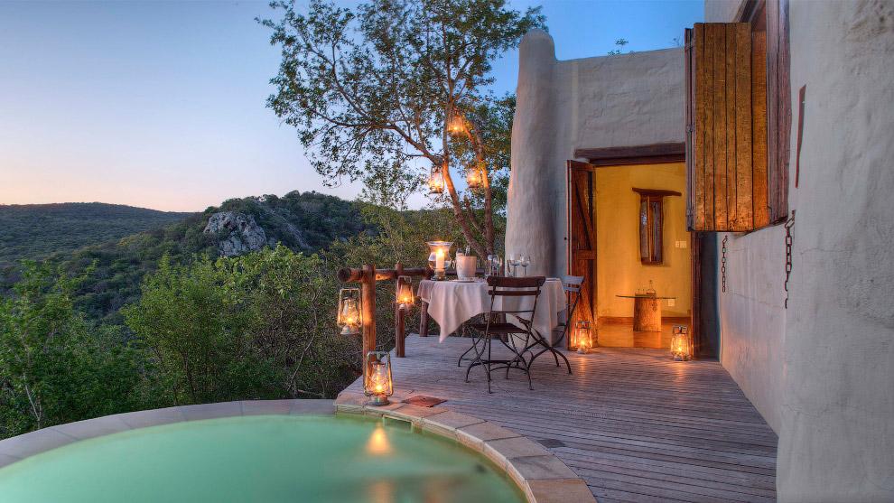 Романтическая вилла с горячим бассейном в Южной Африке