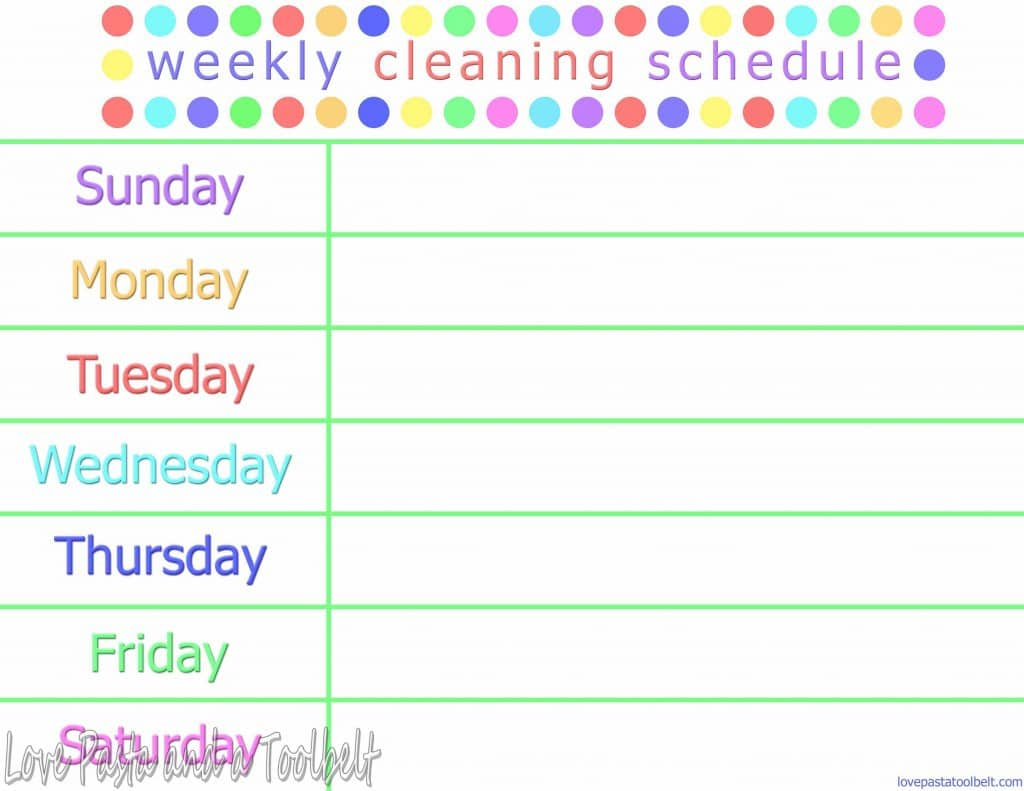 Weekly Cleaning Schedule With Free Printable