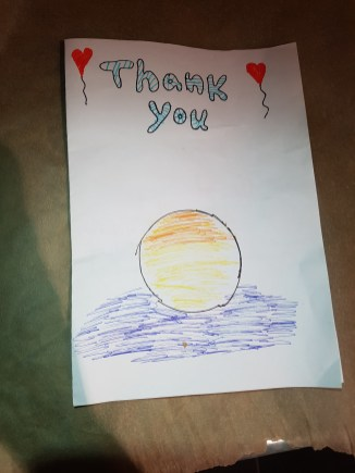 Halloween thank you card by children of neighbourhood