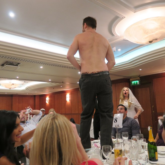 The Wedding Reception bestman pants coming off