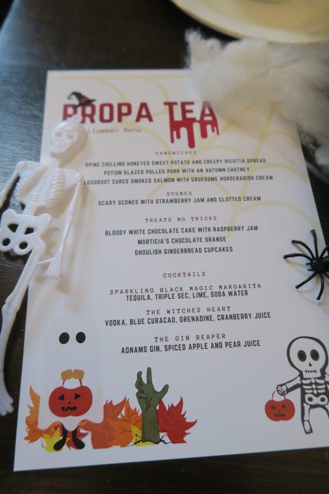 Propa Tea menu