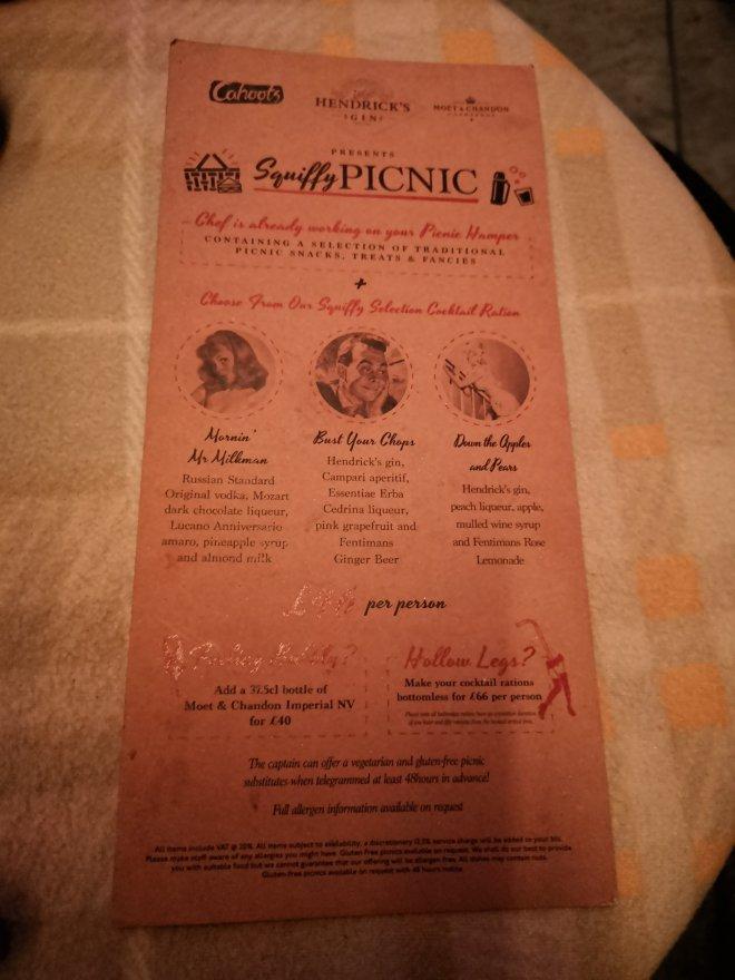 Cahoots Squiffy Picnic menu