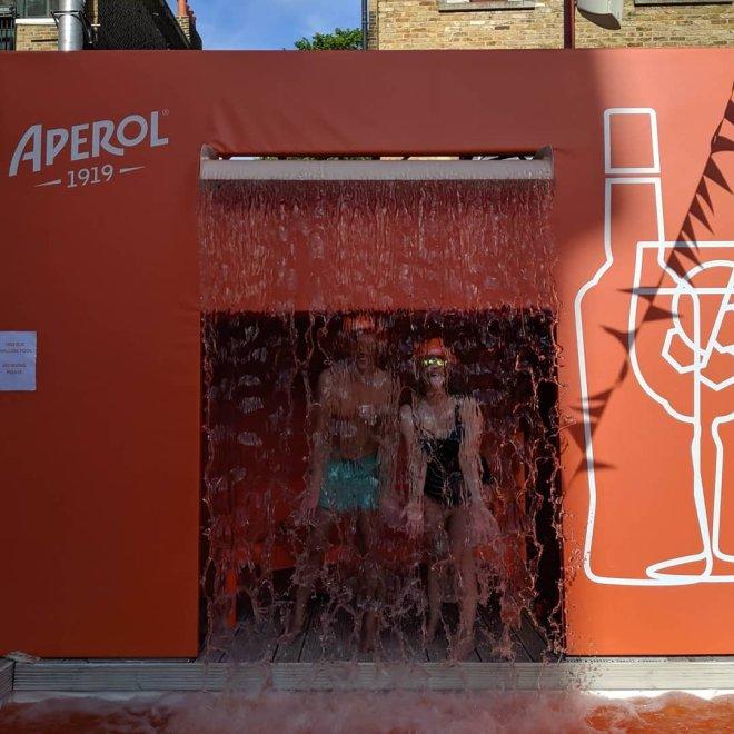 Aperol Spritz me and Steve waterfall hiding