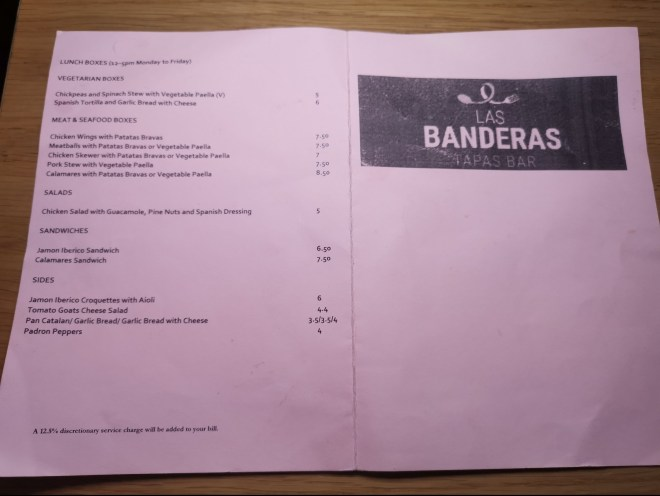 Las Banderas menu
