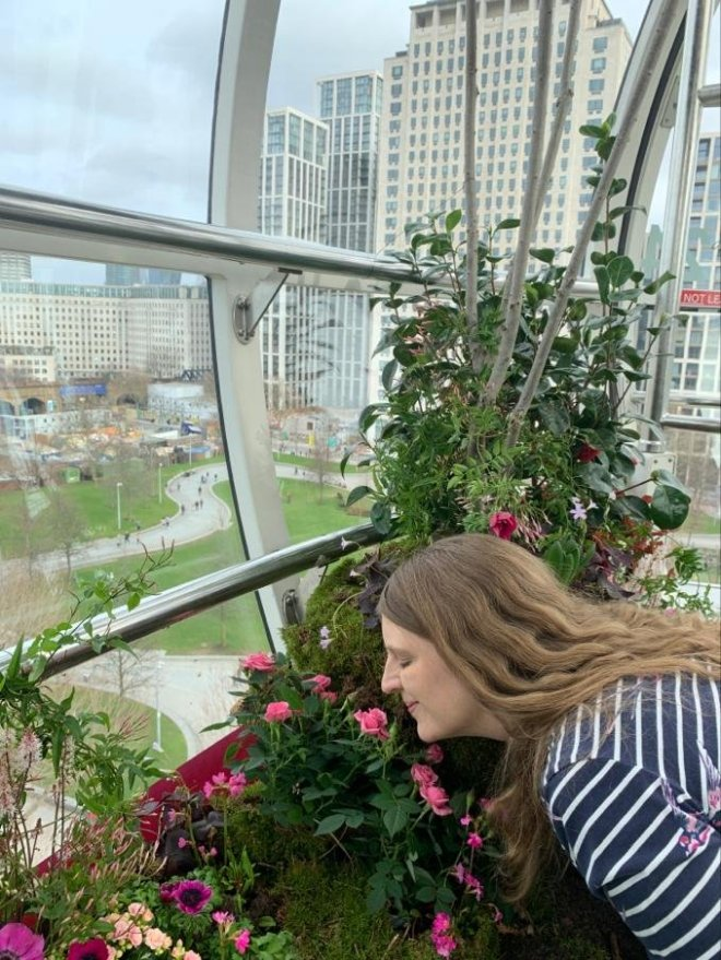 London Eye me sniffing flower