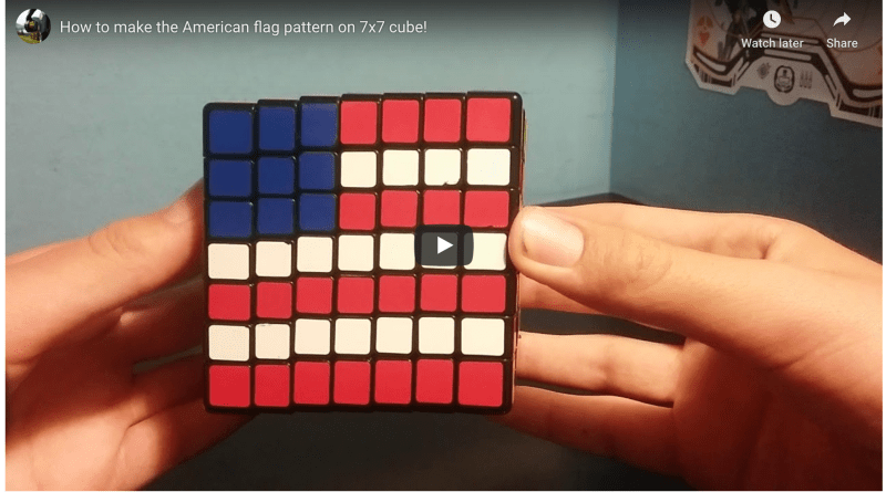 How to make the American flag pattern on 7x7 cube