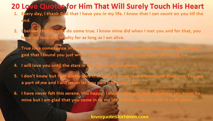 20 Love Quotes for Him That Will Surely Touch His Heart