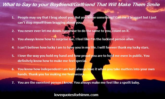 What to Say to your Boyfriend/Girlfriend That Will Make Them Smile