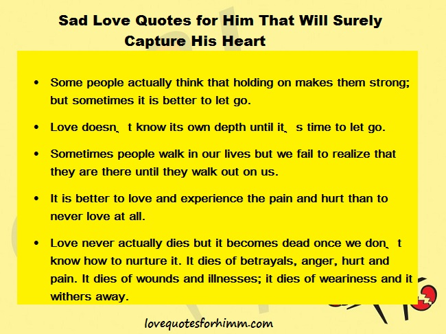 Sad Love Quotes for Him That Will Surely Capture His Heart