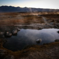 Sunrise at hot springs near Mammoth Lakes, CA