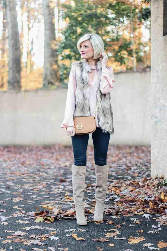 Blush Top + Faux Fur Vest - www.loverlygrey.com - @loverlygrey