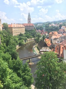Day Trip Cesky Krumlov Castle Overlook of river 3