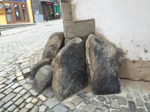 Day Trip Cesky Krumlov Outside village street rocks at corners