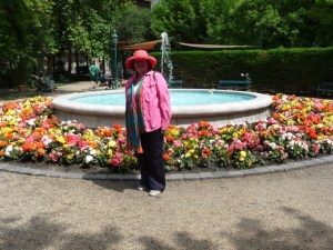 Janeen at a fountain Budapest
