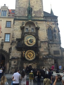 Prague wlaking street square clock tower