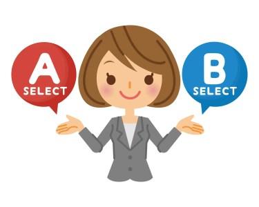 AとBという選択肢を出す女性 イラスト