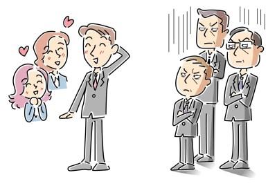 モテる新人と嫉妬する男性社員