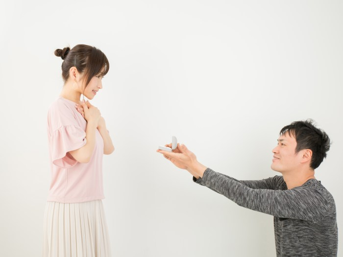 彼女にプロポーズをする男性