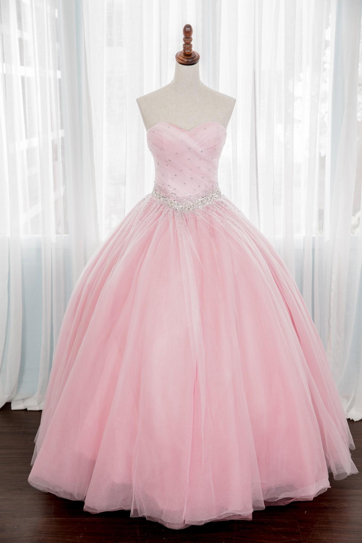 禮服出租:透膚粉色抹胸星空晚禮服