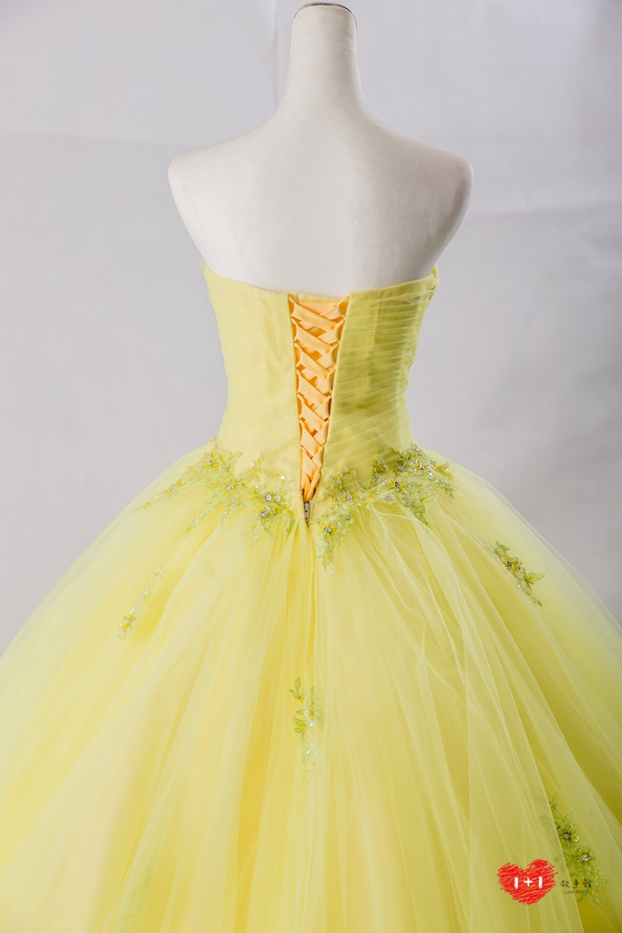 手工婚紗:貴族華麗復古金禮服