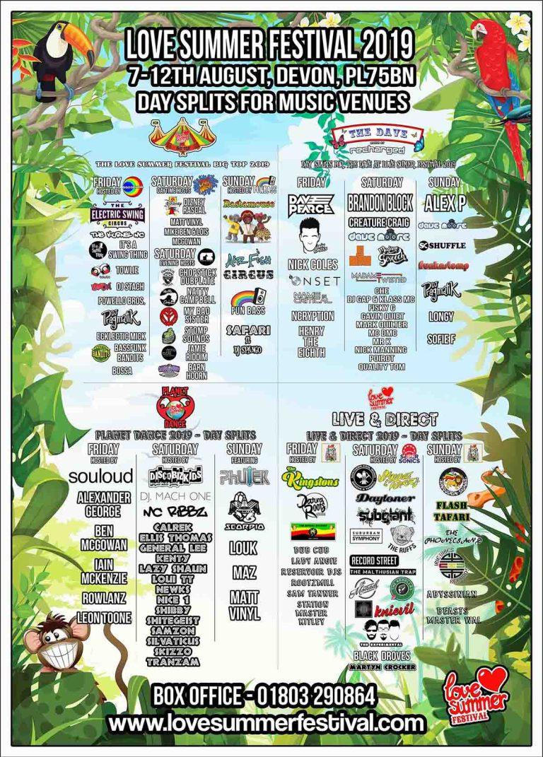 Line up for Day Splits at Love Summer Festival 2019 - Plymouth, Devon, PL7 5BN