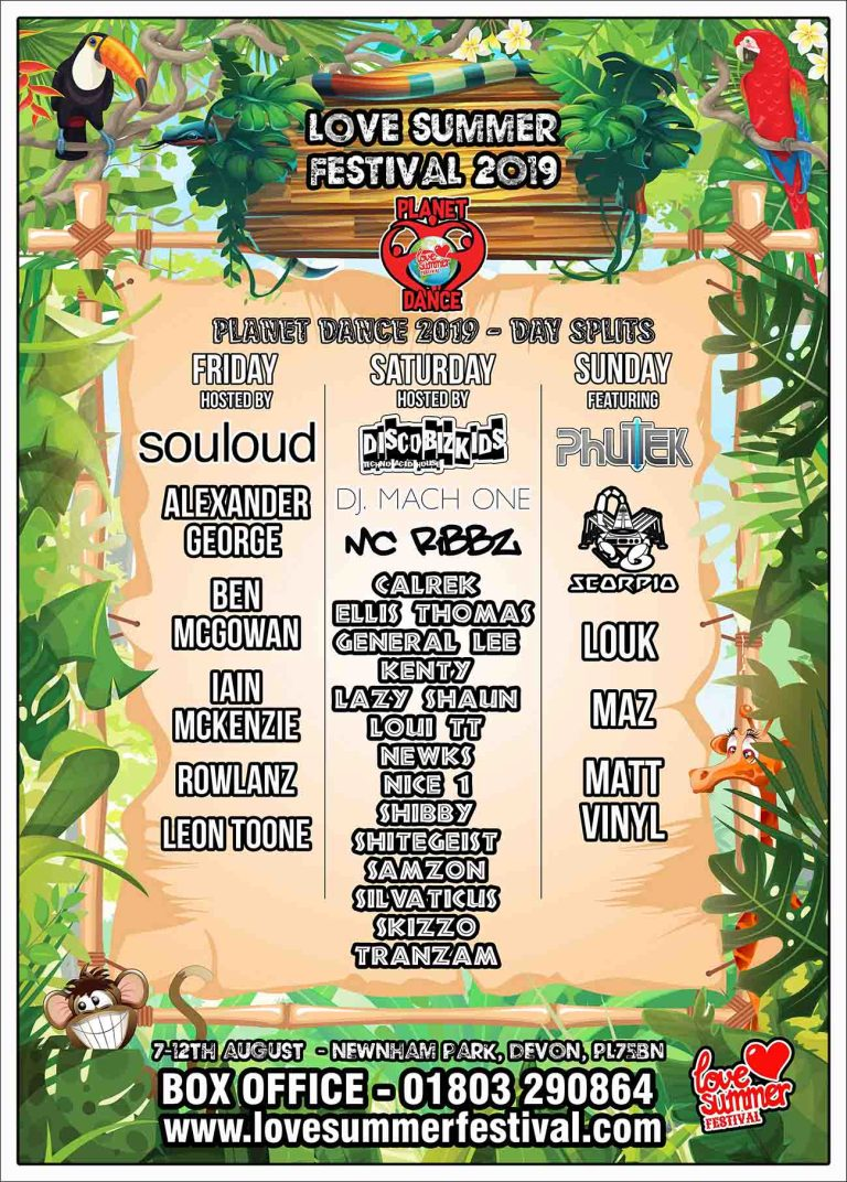 Line up for Planet Dance at Love Summer Festival 2019 - Plymouth, Devon, PL75BN