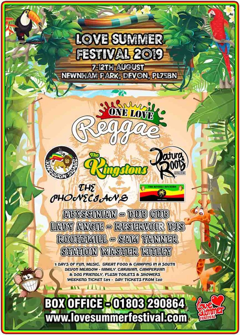 Line up for the Reggae Stage at Love Summer Festival 2019 - Plymouth, Devon, PL7 5BN