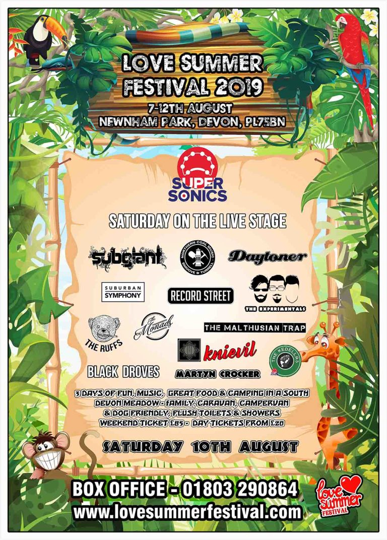 Line up for The Supersonics Stage at Love Summer Festival 2019 - Plymouth, Devon, PL7 5BN