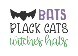 Bats black cats witches hats