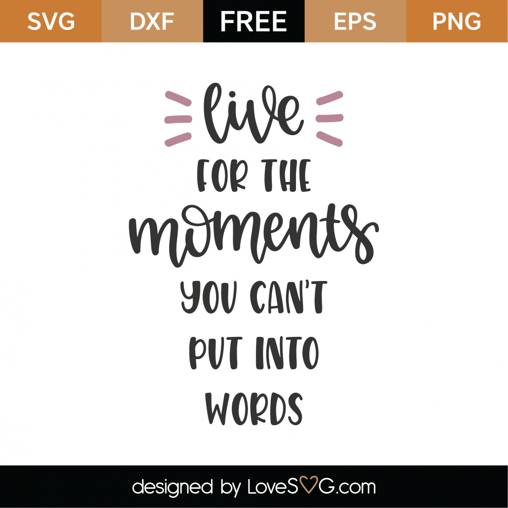Download Free Live For The Moments You Can't Put Into Words SVG Cut ...