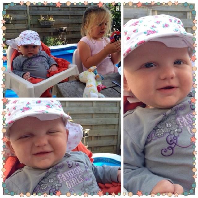 We aten lekker buiten en Liza zat zelfs al een kwartier in de Ikea kinderstoel. Daarna verhuisde ze wel weer naar de wipstoel hoor. Het was wel leuk om de meiden zo op 1 hoogte aan tafel te hebben