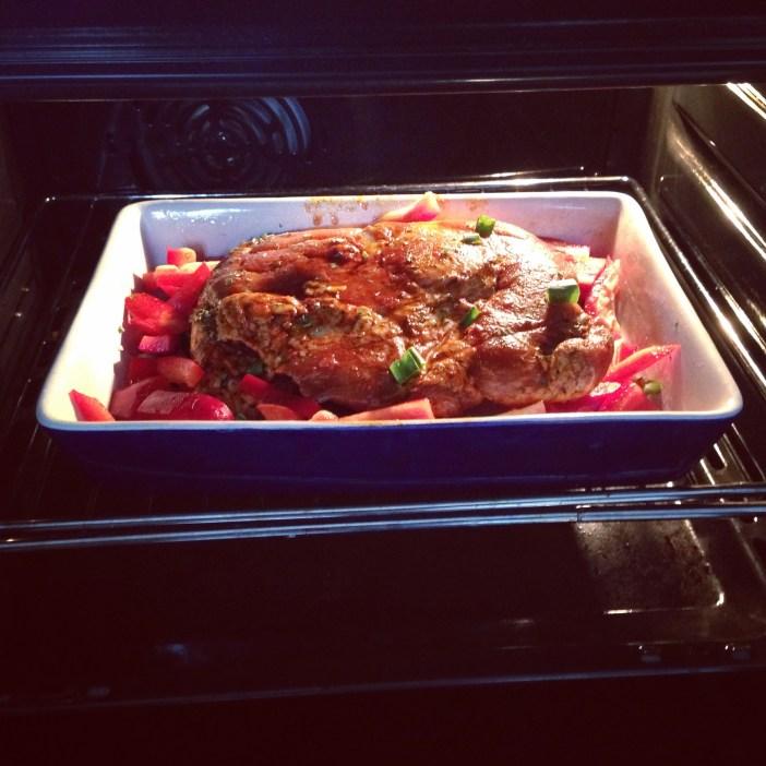 We hadden nog over van de bbq van zondag en dat maakte een heerlijke ovenschotel.