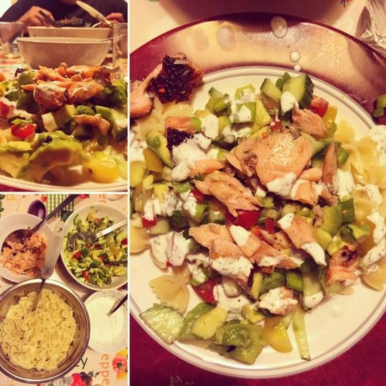 We aten trouwens wel echt lekker die avond. Pasta met koude groenten, avocado en warme zalm...