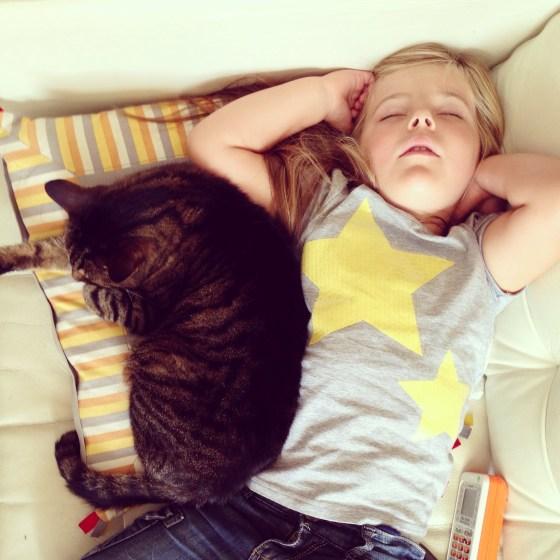 En natuurlijk viel Eva op de terugweg in slaap.