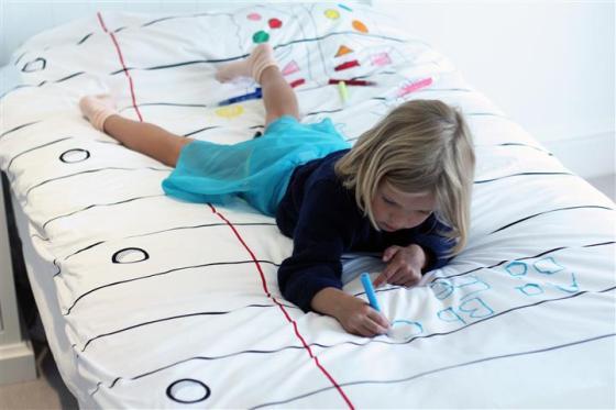 Ook voor kinderen natuurlijk magisch! Schrijven op je dekbed, leuker kan het niet!