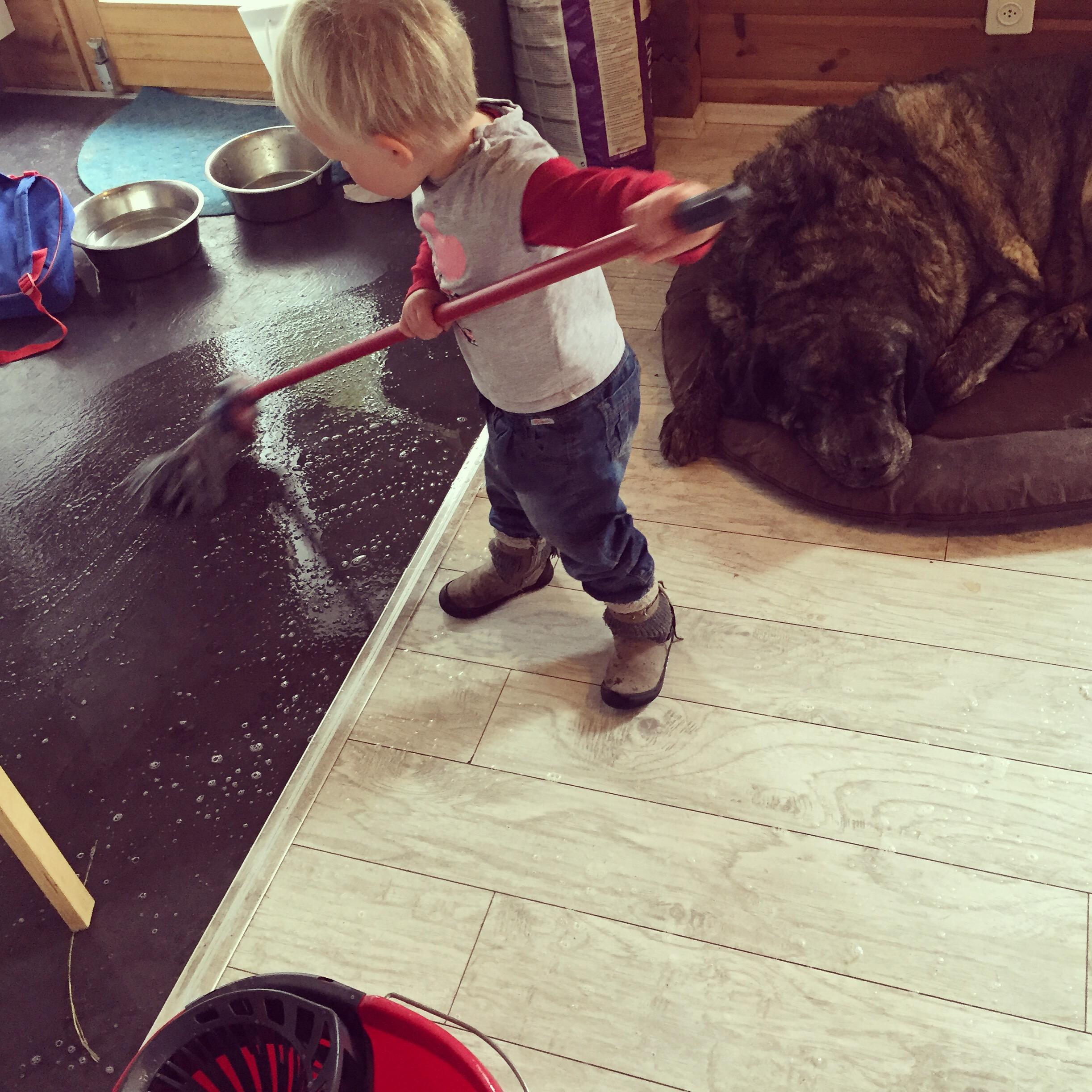 Liza helpt altijd graag mee met schoonmaken...