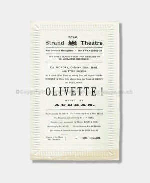 1880 - Royal Strand Theatre -Olivette!