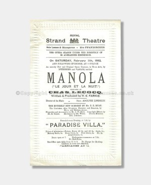 1882 - Royal Strand Theatre - Manola