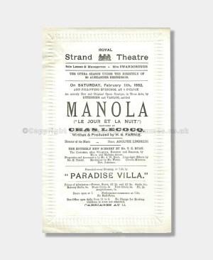 1882 - Royal Strand Theatre - Manola