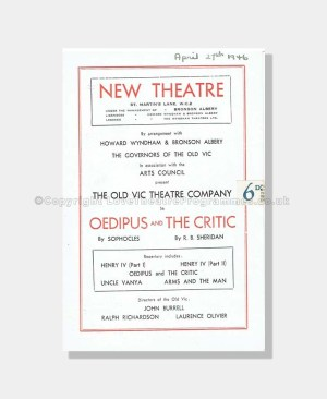 1946 OEDIPUS and THE CRITIC New Theatre