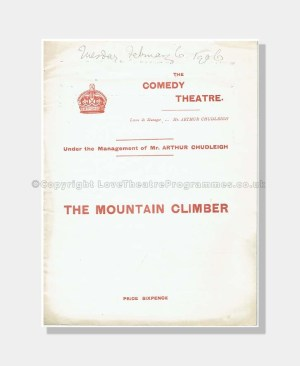 1906 THE MOUNTAIN CLIMBER Comedy Theatre
