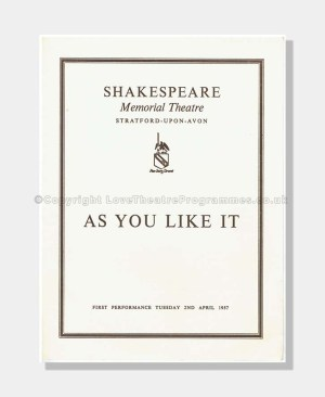 1957 AS YOU LIKE IT Shakespeare Memorial