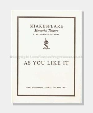1957 AS YOU LIKE IT Shakespeare Memorial