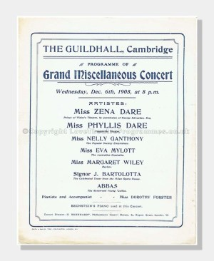 1905 GRAND CONCERT Guildhall, Cambridge The Dare Sisters