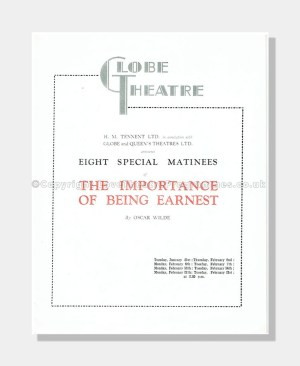 1939 THE IMPORTANCE OF BEING EARNEST Globe Theatre